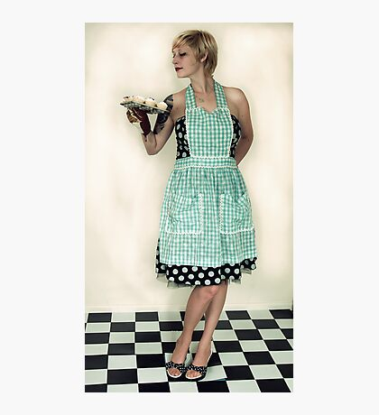 Pin Up Housewife on checkered floor Photographic Print