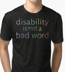 Disability is Not a Bad Word - Pastel Rainbow Tri-blend T-Shirt