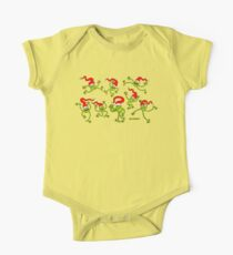 Christmas Frogs jumping, dancing and celebrating! One Piece - Short Sleeve