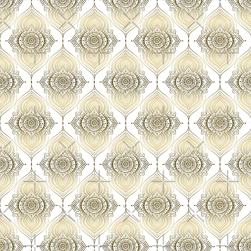 Gold tones orante abstract teardrops pattern by artonwear
