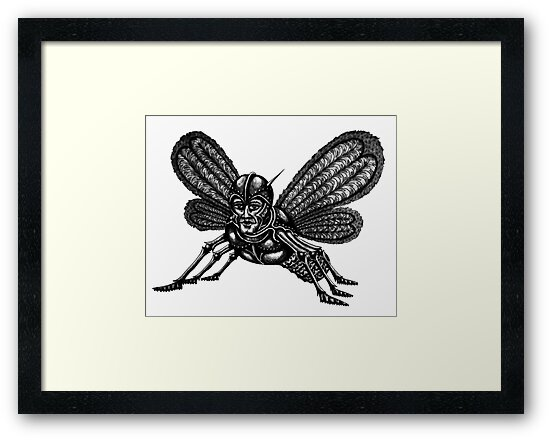 Mothman surreal black and white pen ink drawing by Vitaliy Gonikman