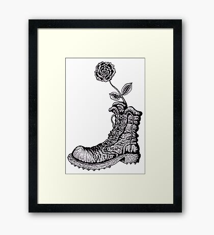 Boot with Flower black and white pen ink drawing Framed Print
