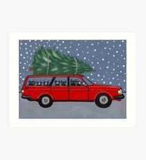 Volvo Cats Christmas Tree Art Print
