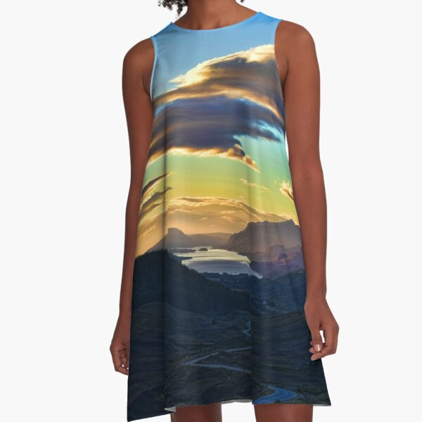 Looking West to Loch Maree-Scotland A-Line Dress