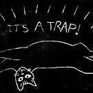 It's a Trap! cat lino print by tmoriginals