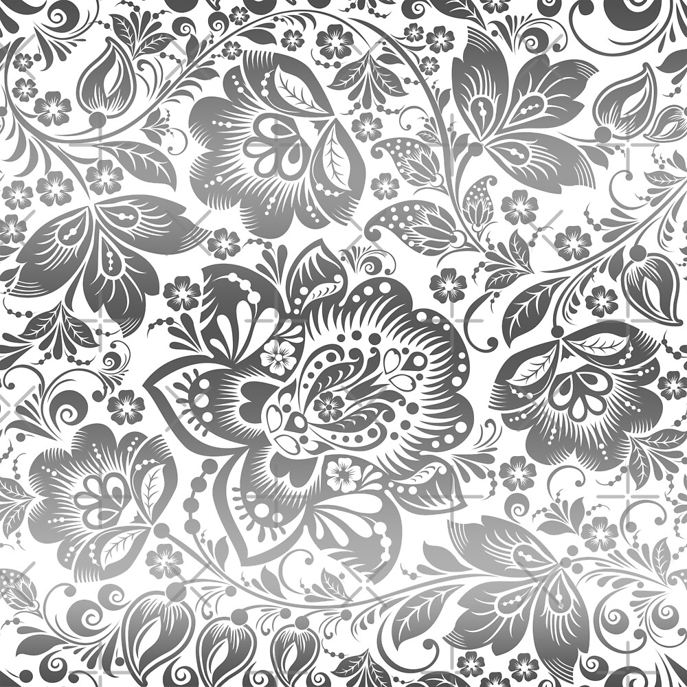Silvery Gray and White Beautiful Floral Pattern by artonwear
