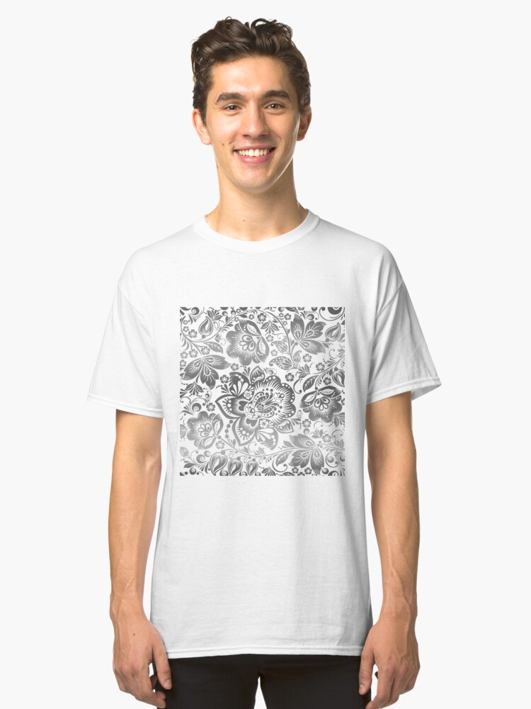 Silvery Gray and White Beautiful Floral Pattern Classic T-Shirt Front