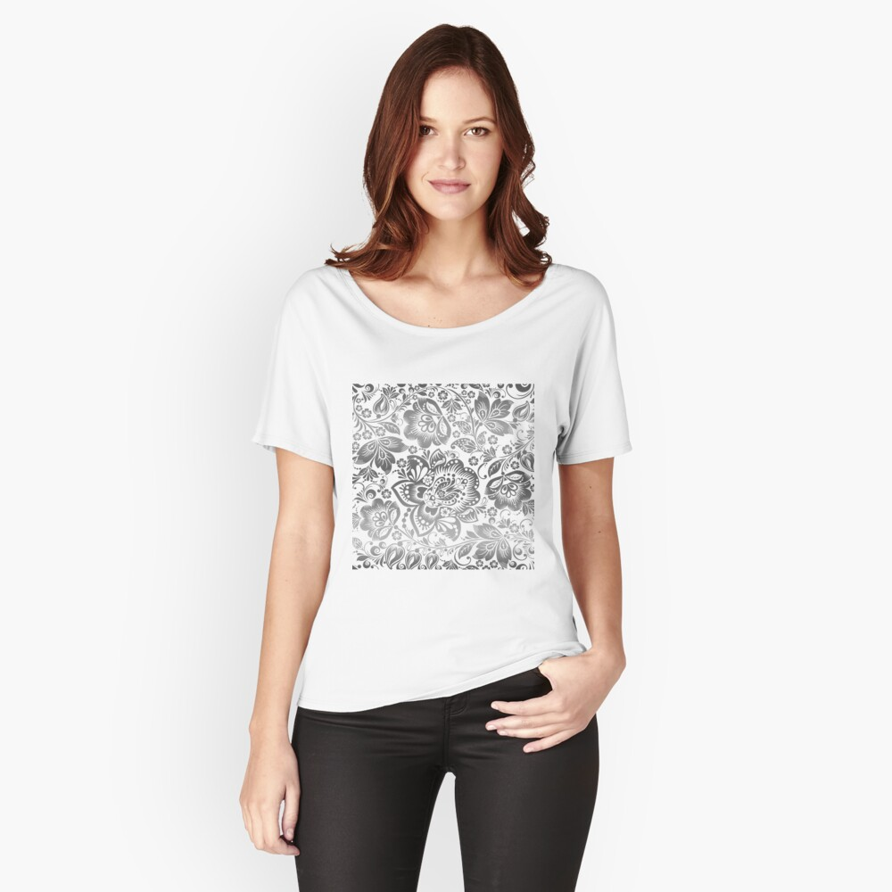 Silvery Gray and White Beautiful Floral Pattern Women's Relaxed Fit T-Shirt Front