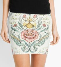 Antique pattern - Beetle and centipedes Mini Skirt