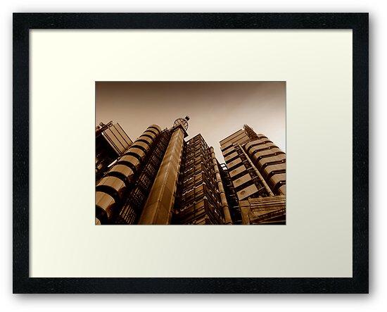 Lloyds' metallic turrets, Gresham Street, London by Chris Millar