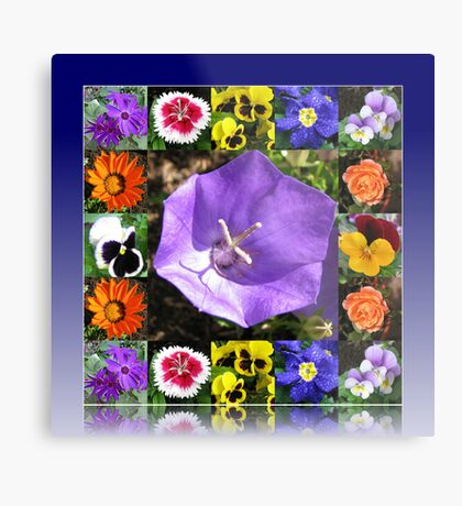 Summers Gone By Floral Collage Metallbild