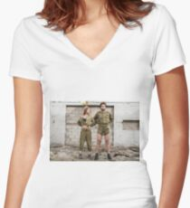 Models in Israeli Army uniform is a deserted location  Women's Fitted V-Neck T-Shirt