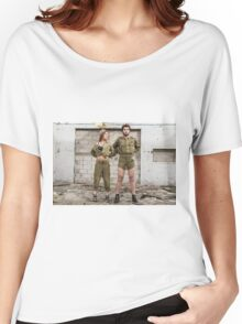 Models in Israeli Army uniform is a deserted location  Women's Relaxed Fit T-Shirt