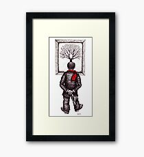 Looking at the Tree surreal black and white pen ink drawing Framed Print
