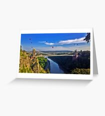 Suspension Bridge With Balloons Greeting Card