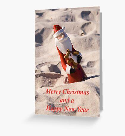Santa in the sand Christmas Card Greeting Card