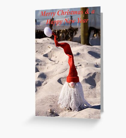 Santa with a curly hat Christmas Card Greeting Card