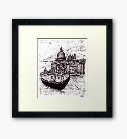 Venice Italy black and white pen ink drawing Framed Print