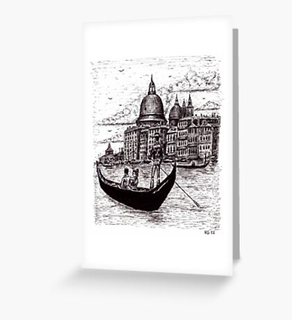 Venice Italy black and white pen ink drawing Greeting Card