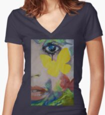 Heart Obscured by the Moon Women's Fitted V-Neck T-Shirt