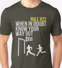Zombie Survival Guide - Rule #22 - When In Doubt, Know Your Way Out T-Shirt