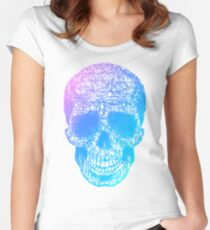 Rainbow Scribble Skull Women's Fitted Scoop T-Shirt