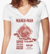 Manly-Man Women's Fitted V-Neck T-Shirt