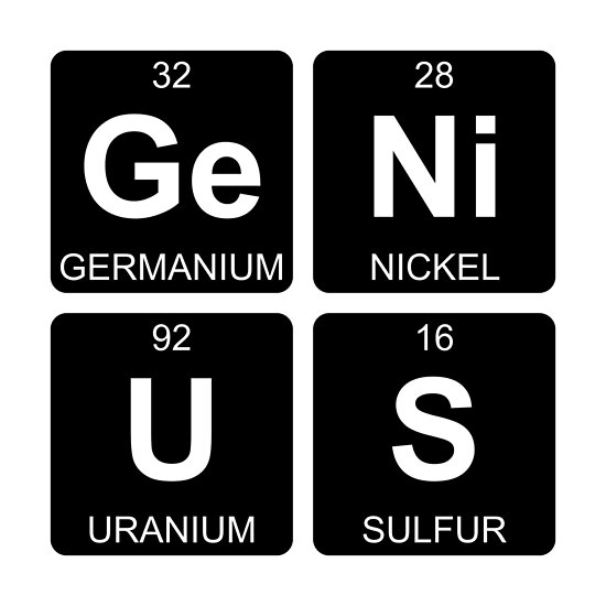 Ge Ni U S Genius Periodic Table Chemistry Posters By Jenny