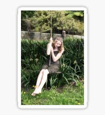 Woodland Woman On A Rope Swing Sticker