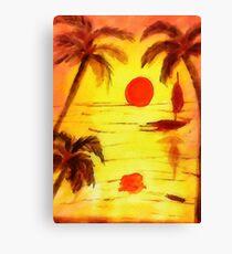 Golden Sunset, watercolor Canvas Print