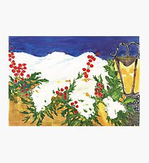 Snow on Holly Photographic Print