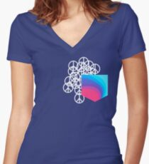 Peace Pocket Women's Fitted V-Neck T-Shirt