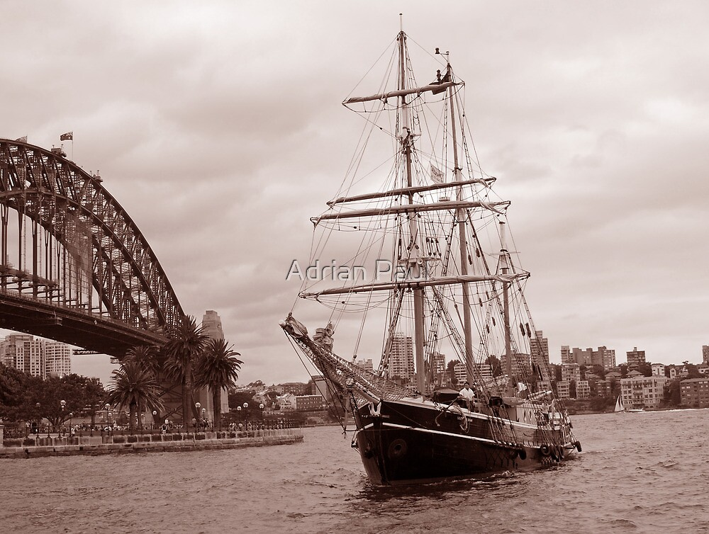 The Tall Ship & Sydney Harbour, NSW, Australia by Adrian Paul