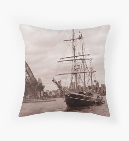 The Tall Ship & Sydney Harbour, NSW, Australia Throw Pillow