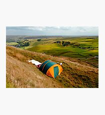 Tent Sited Near Summit of Mam Tor Photographic Print