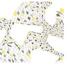 Geometric landscape silver & yellow drawing by BellaBark