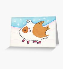 Guinea-pig With Stripy Socks in the Snow Greeting Card