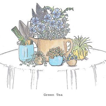 Green Tea Flower Print by doonesdoodles