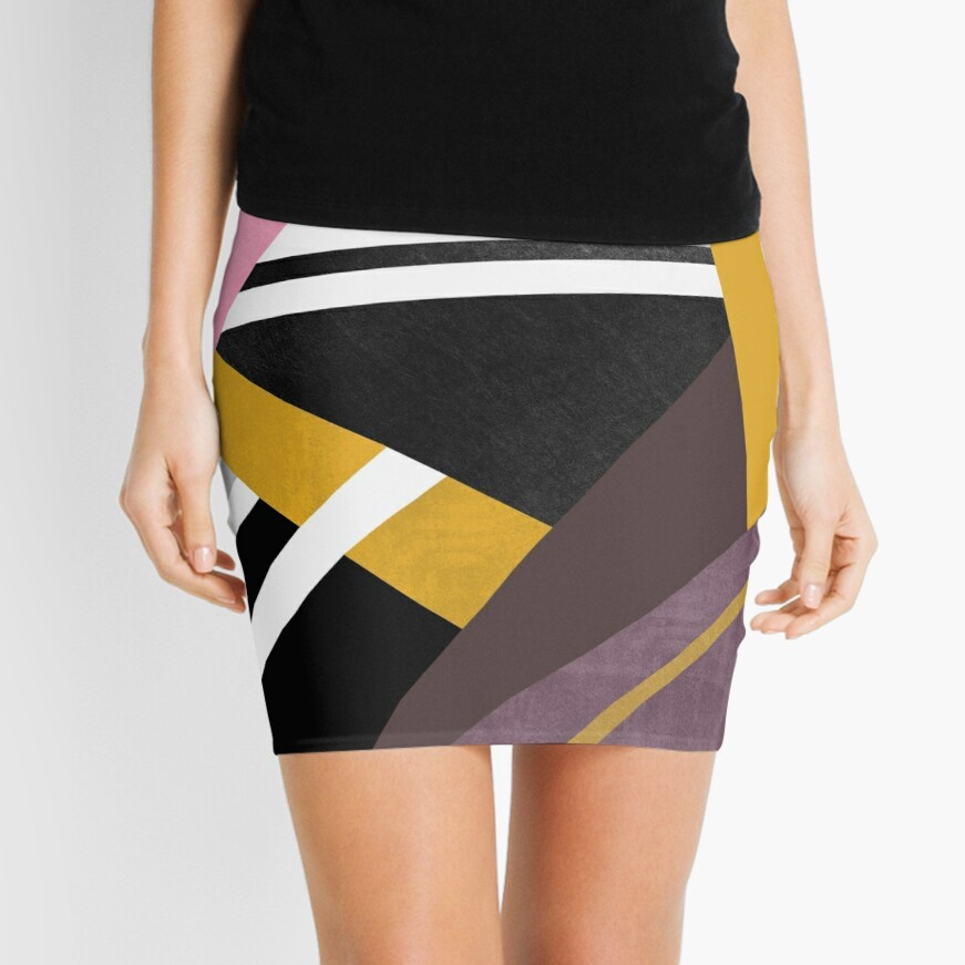 Graphic Combination  Mini Skirt