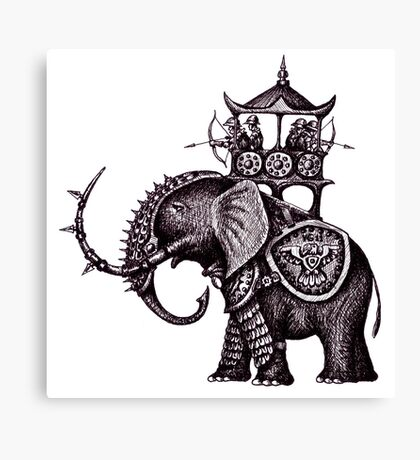 War Elephant black and white pen ink drawing Canvas Print