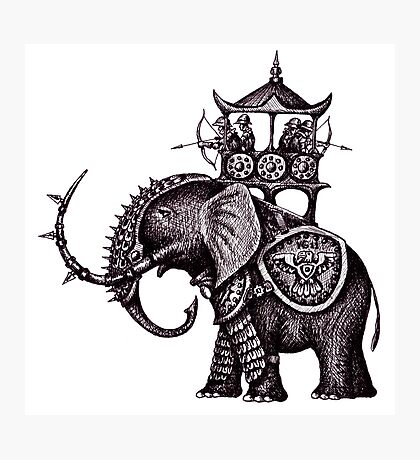War Elephant black and white pen ink drawing Photographic Print
