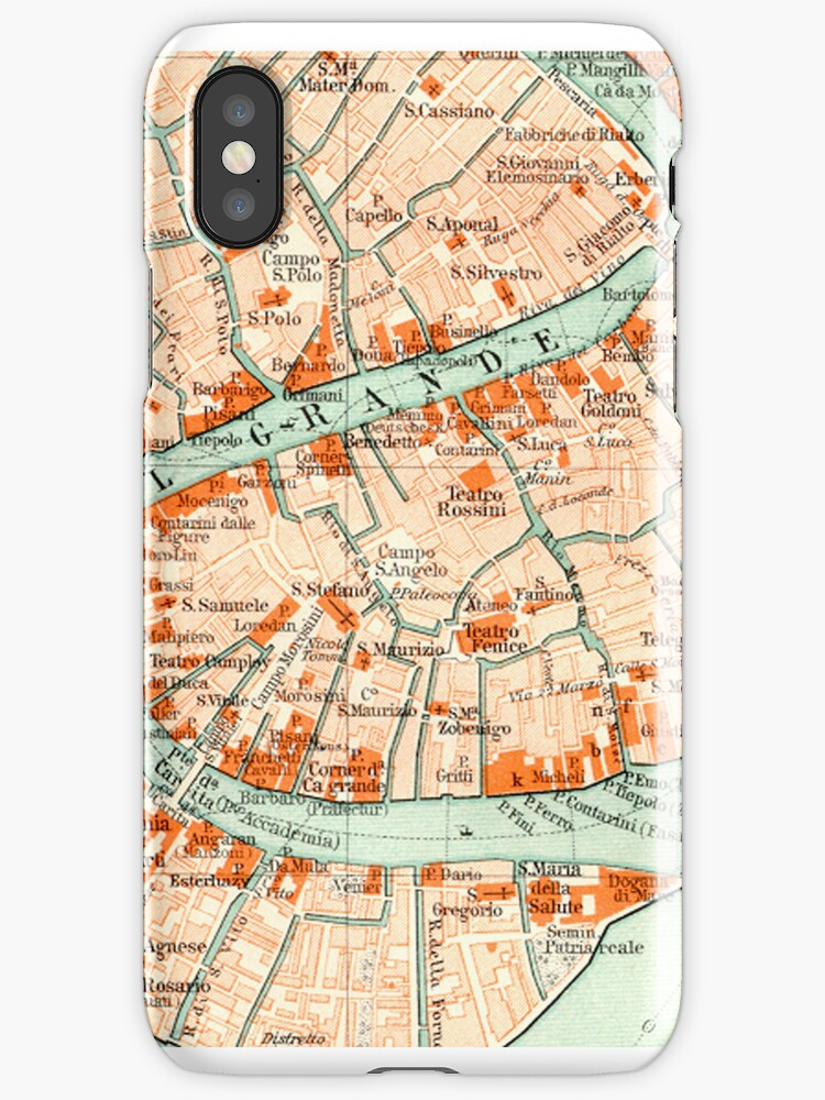 Venice Vintage Map iphone Case by Mary Grekos