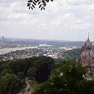 View of Schloss Drachenburg and the Rhine River, Konigswinter, Germany by Jekusha