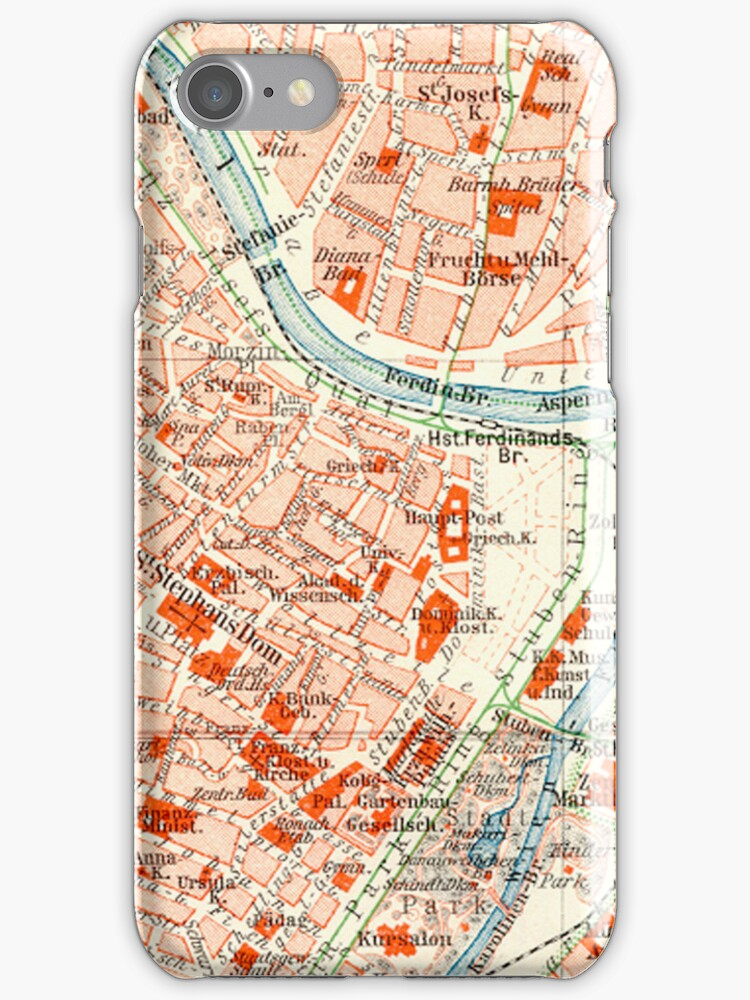Vienna Vintage Map iPhone Case by Mary Grekos