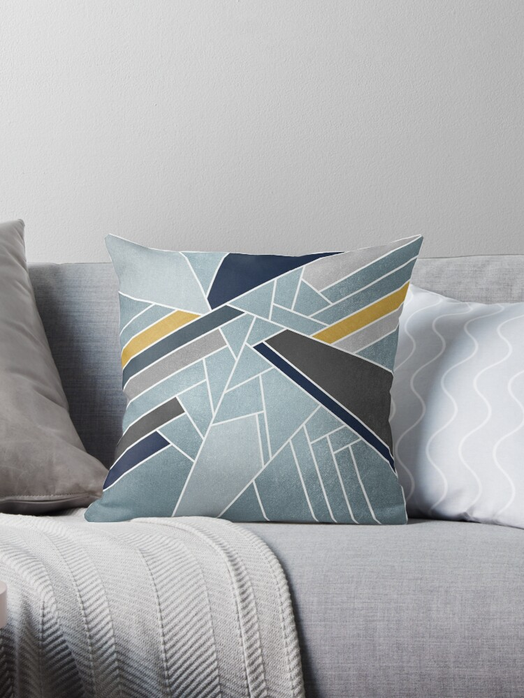 Soft Silverbluenavygold Throw Pillows By Elisabeth Fredriksson
