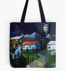 Blue Cat and Floating Gate Tote Bag
