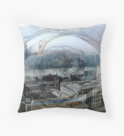 Swirling London Town Throw Pillow