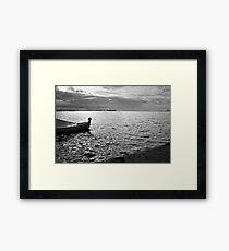 BOAT SEA SUNLIGHT AND HARBOR VINTAGE RETRO Framed Print