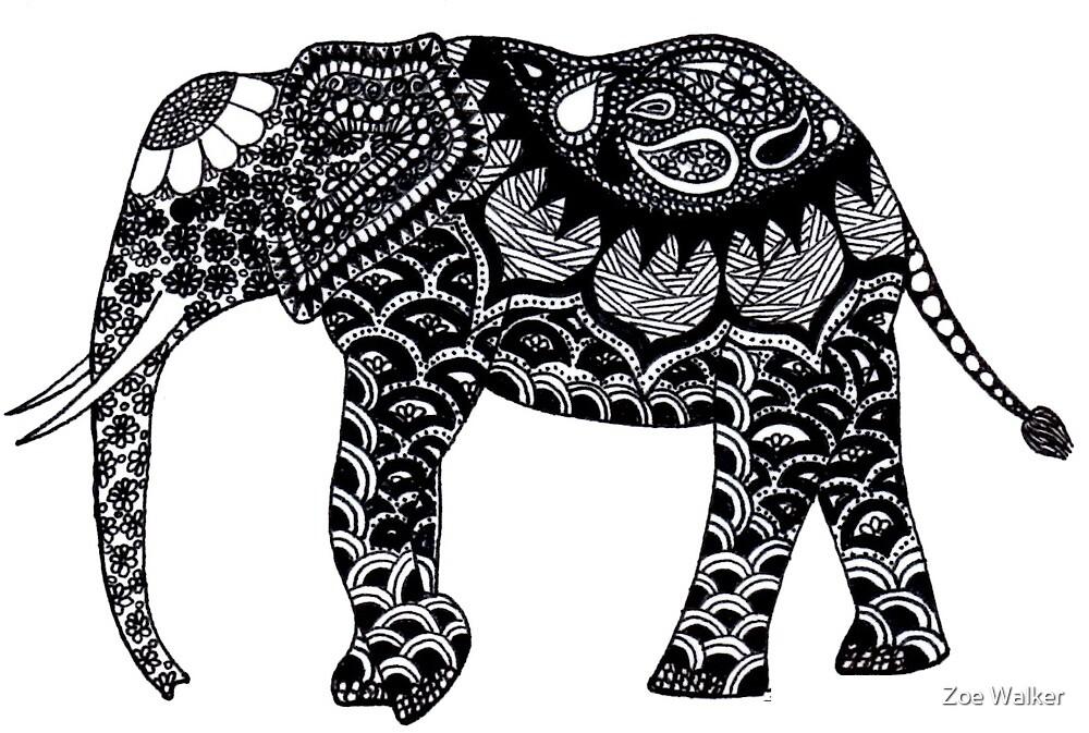Patterned Elephant by Zoe Walker