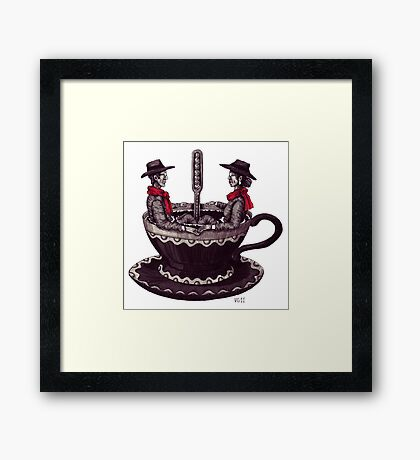Cup of Coffee surreal black and white pen ink drawing Framed Print